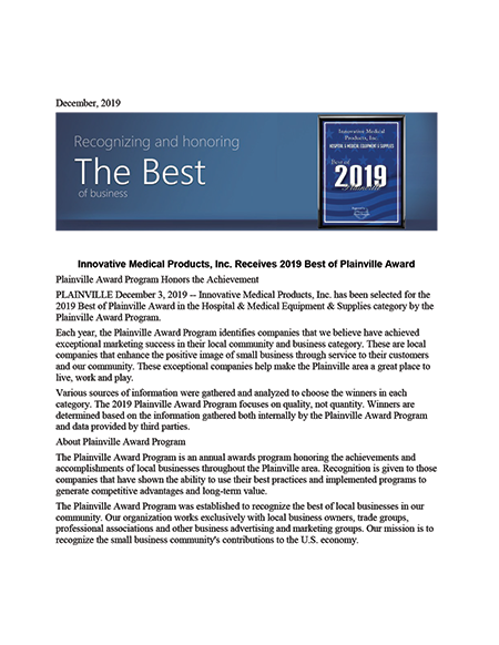 Innovative Medical Products Inc Receives 2019 Best Of Plainville Award